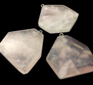 rose quartz faceted pendant