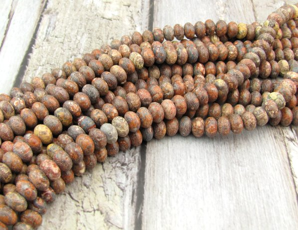 leopardskin jasper rondelle gemstone beads