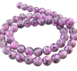 purple marble glass beads round 8mm
