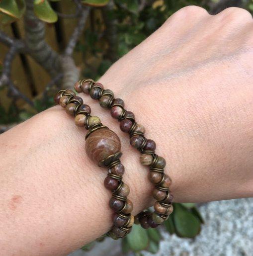 Autumn Jasper bead wrap bracelet tutorial