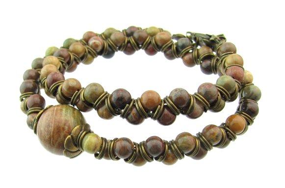 finished jasper wrap bracelet design