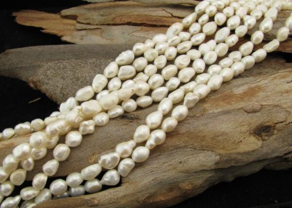 white nugget freshwater pearl beads