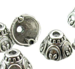 silver cone bead caps