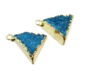blue drusy triangle pendant