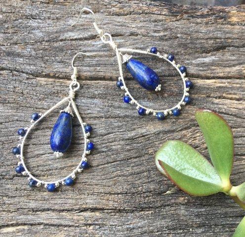 Wire wrapped Lapis Lazuli Teardrop Earrings Tutorial