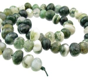 Moss Agate gemstone nugget beads