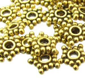 gold star daisy spacer beads