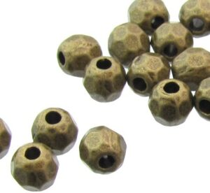 bronze faceted round beads
