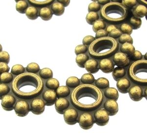 bronze large daisy spacer beads