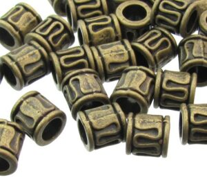 bronze barrel beads with swirl