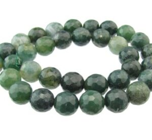 moss agate faceted round gemstone beads 10mm