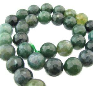 moss agate faceted 12mm round beads