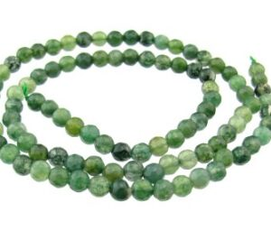 moss agate faceted 4mm beads