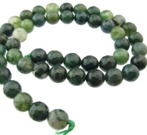 Moss Agate faceted round beads 8mm