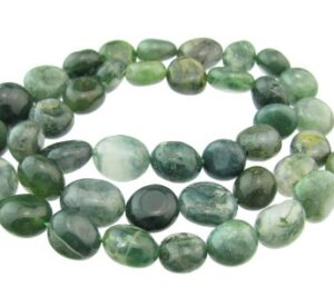 small moss agate tumbled nugget beads