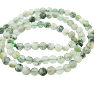 white moss agate faceted round gemstone beads 4mm