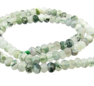 moss agate faceted rondelle gemstone beads