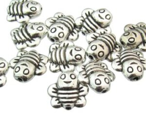 silver bee beads