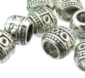 silver barrel beads with large hole