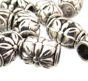 silver barrel beads with flower