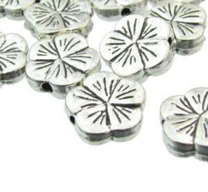 silver flower beads