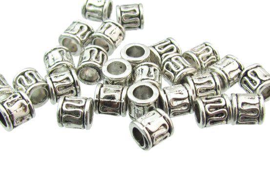 silver barrel beads with swirl