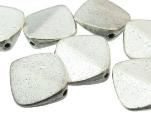silver square spacer beads