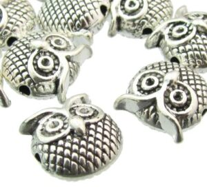silver owl beads