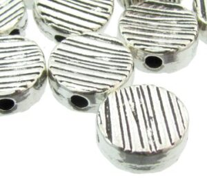 stripey silver coin beads