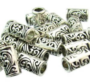 silver plated tube beads