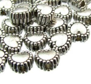 silver metal beads small heart