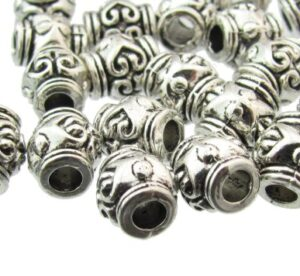 silver small barrel beads