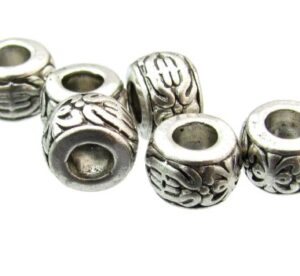 antique silver barrel beads with large hole
