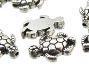 silver turtle beads