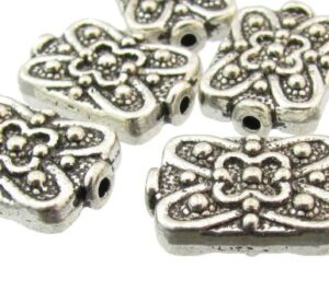fancy silver rectangle beads