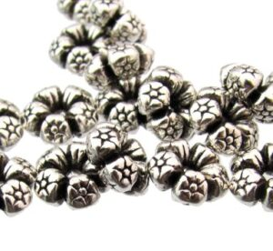 silver flower spacer beads