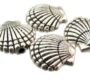 silver shell beads
