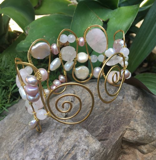 freshwater pearl wired cuff tutorial