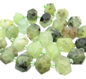 prehnite faceted nugget gemstone beads