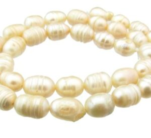 peach ringed rice freshwater pearls