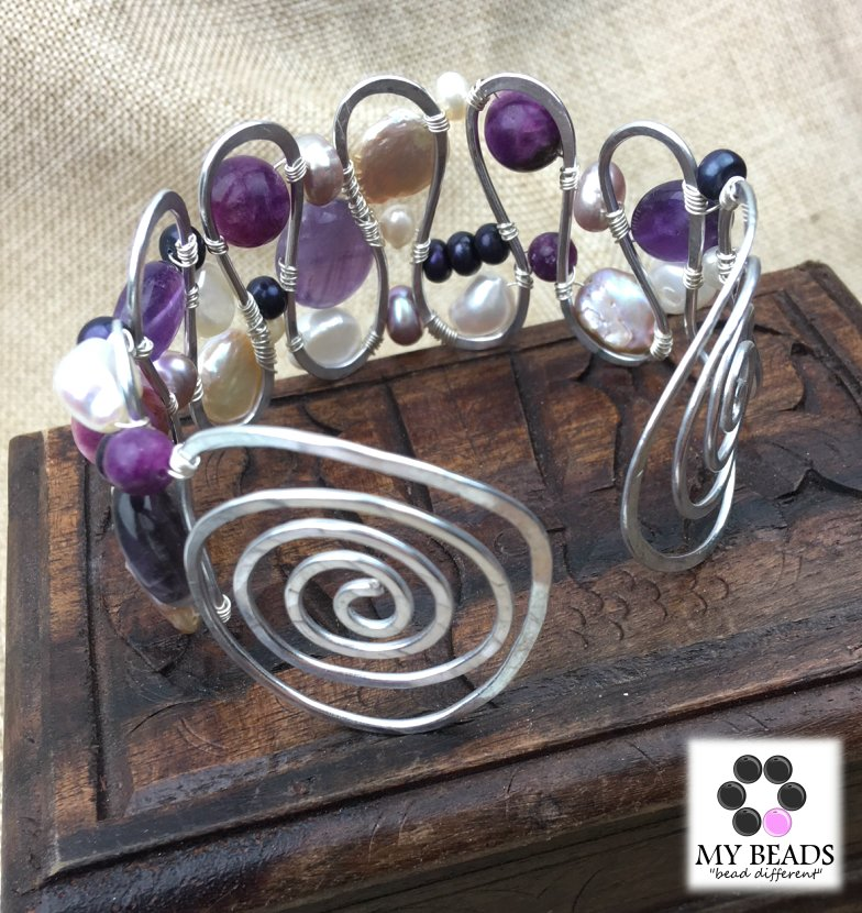 Amethyst and freshwater pearl wired cuff tutorial