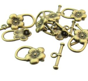 bronze flower toggle clasps