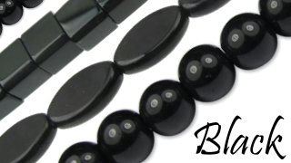 black glass beads sold by the strand