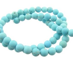 matte turquoise 6mm round beads