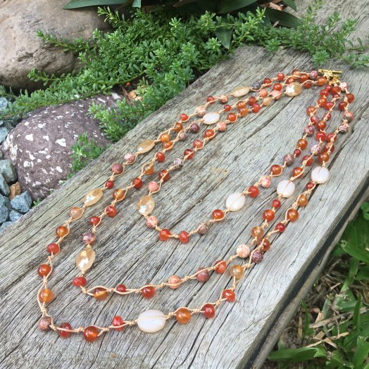 muli strand carnelian gemstone necklace