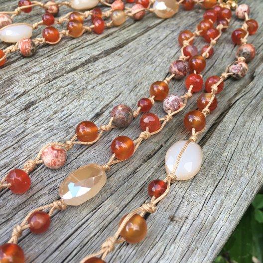 multi strand carnelian gemstone necklace