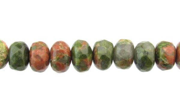 unakite faceted rondelle gemstone beads 8mm