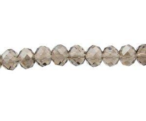 smoky grey crystal rondelle beads