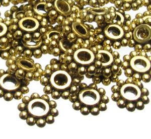 gold daisy spacer beads 6mm