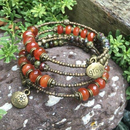 gemstone rondelle memory wire bracelet tutorial